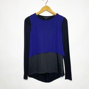 Elie Tahari Blue & Black Tunic Top